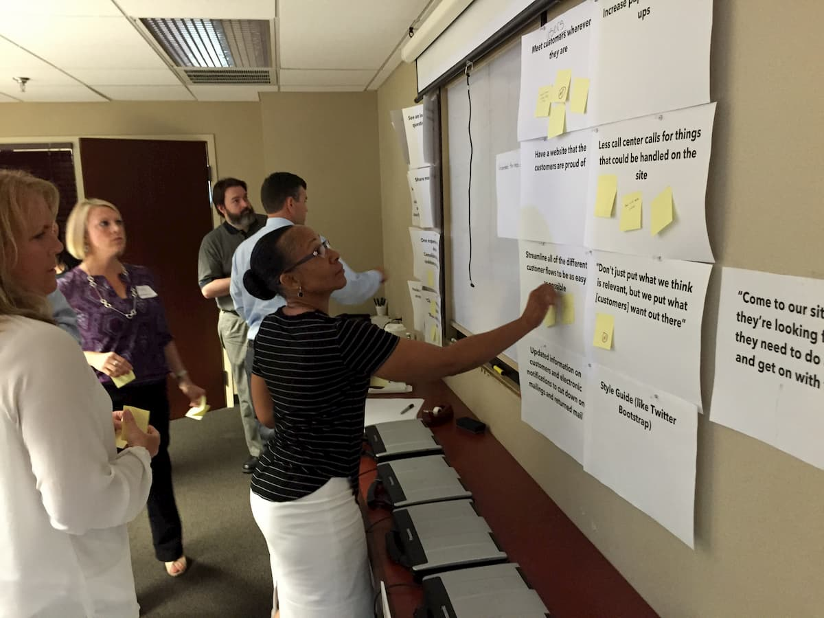 KUB team voting on project goals by putting post-it notes on the goals they agree with