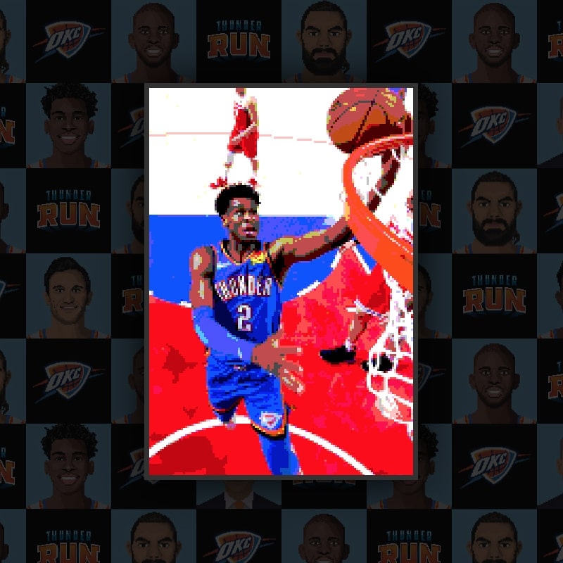 A pixelated, 16-bit stylization of Shai Gilgeous-Alexander making a slam dunk. After a user finishes their run, they see a similar image of their chosen player making a slam dunk in the game.