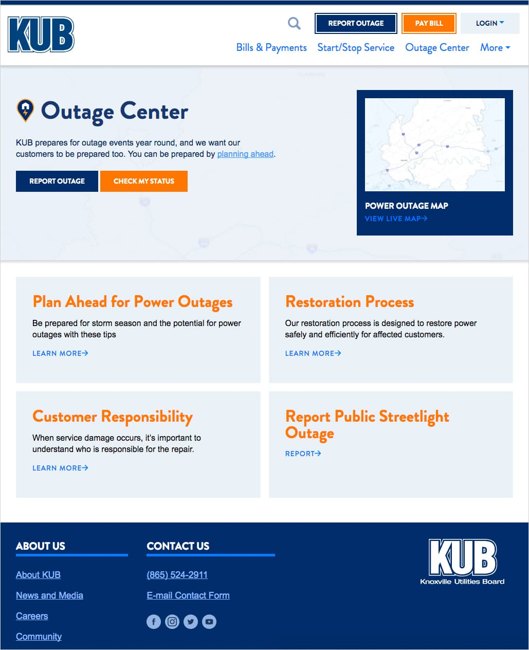 The Outage Center page