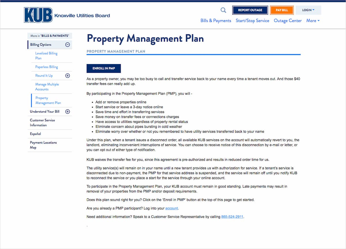 Property management page
