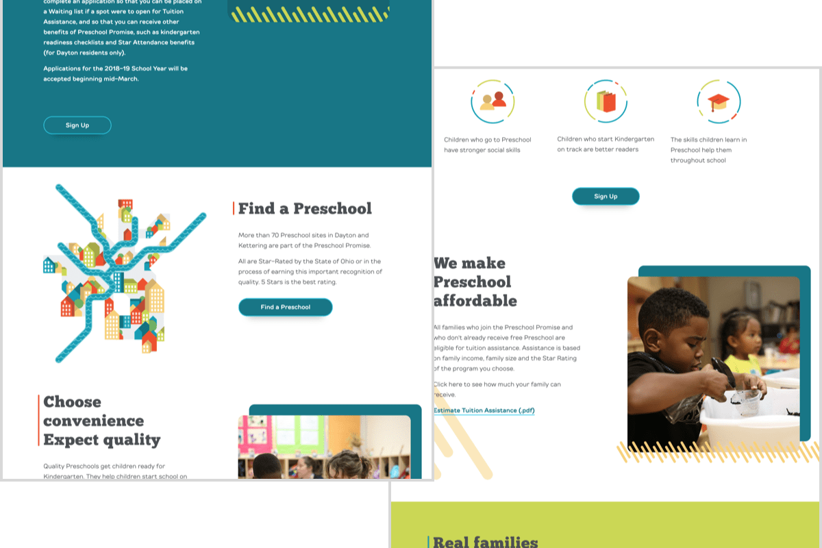 Screenshots of the Preschool Promise website homepage showing the different modules on the page