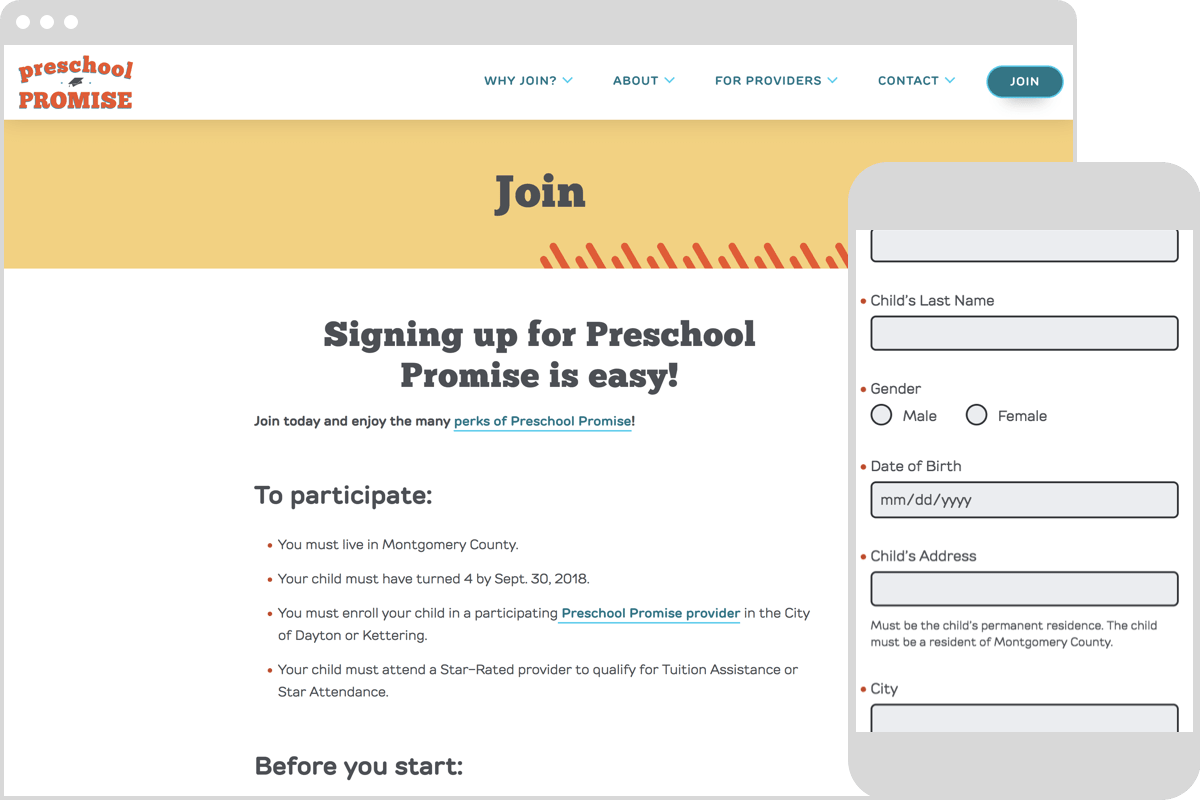 Screenshots of the Preschool Promise website.Showing screens from the application flow.