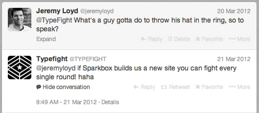 Twitter conversation between Jeremy and Typefight