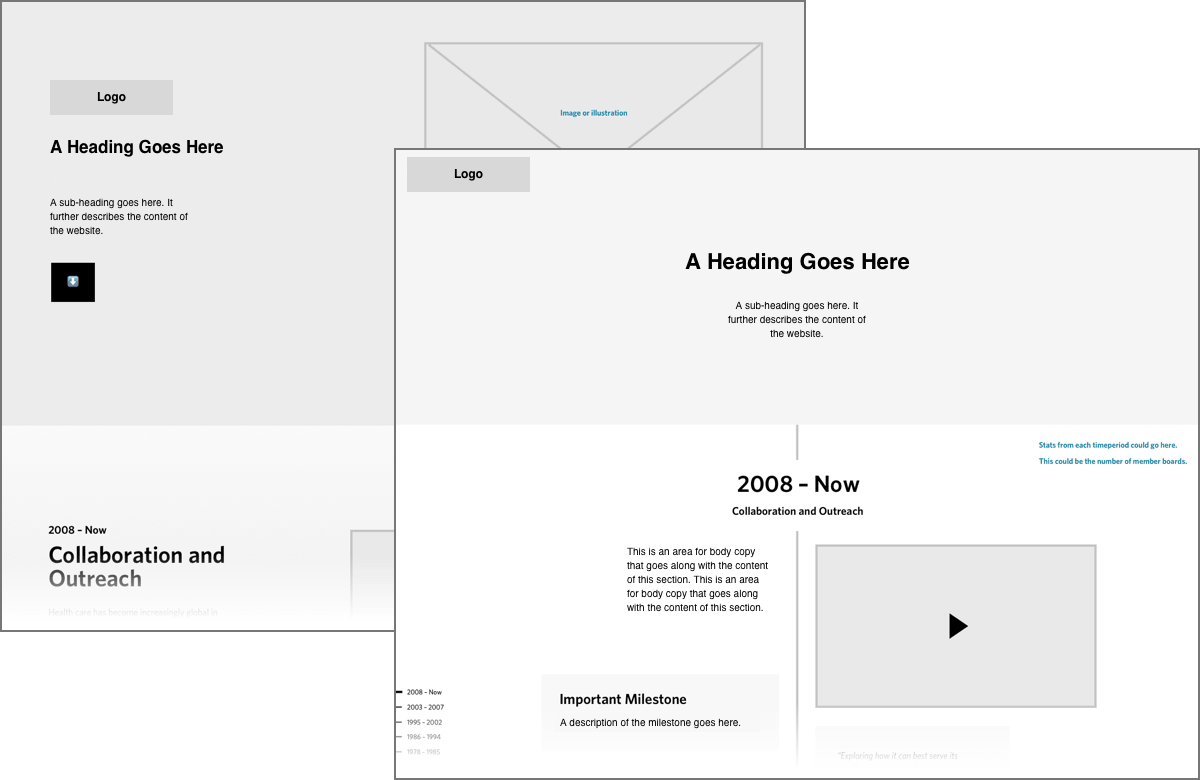 Two wireframe representations of a website showing different layout options