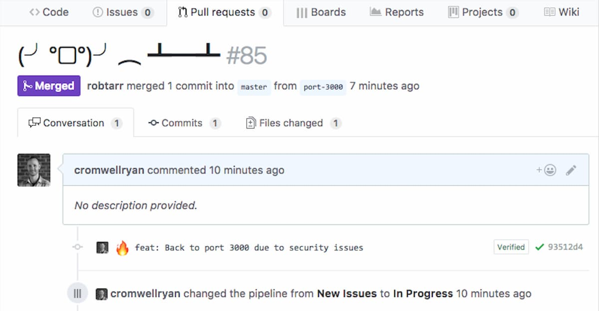 A poor example of a pull request description.