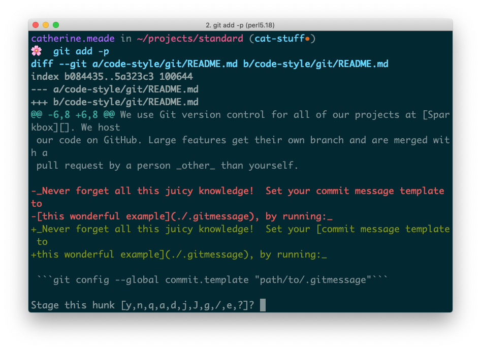 A terminal screenshot of running git add -p.