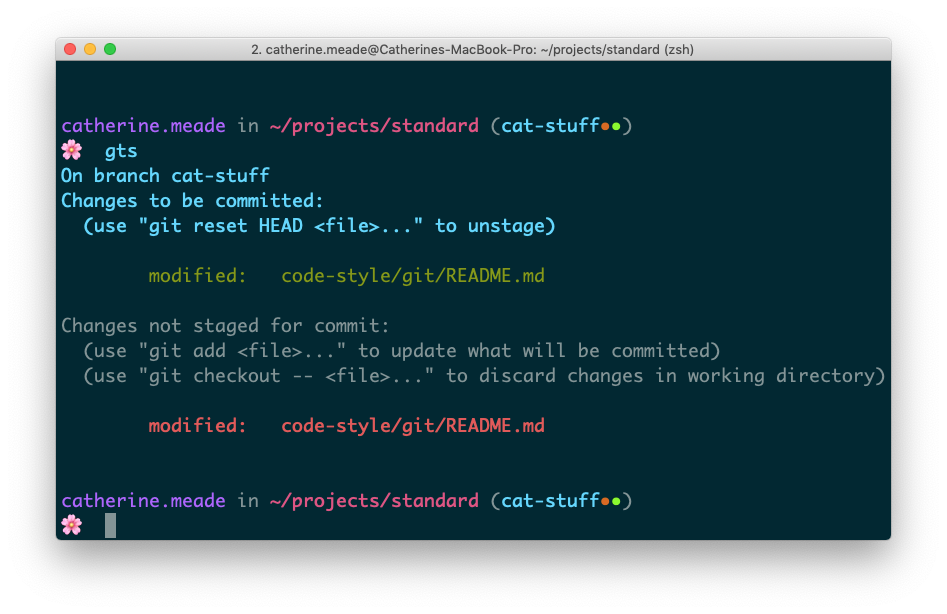 A terminal screenshot of running git status.
