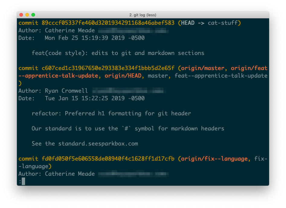 A terminal screenshot of running git log