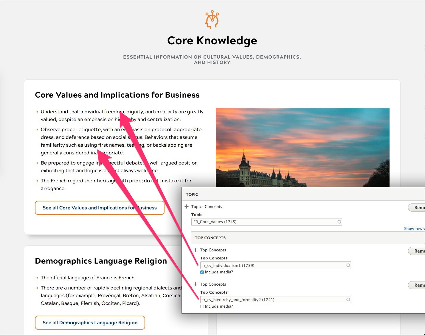 A side-by-side view of a section page and the CMS, showing how core knowledge content is surfaced from topic page fields.