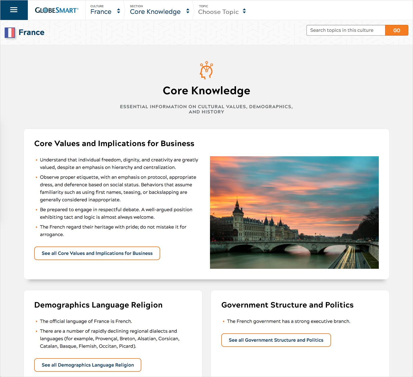 The next section summary page for the France culture guide, highlighting core values, demographics, and government structures.