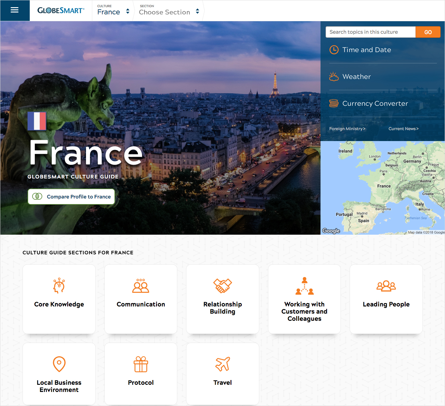 Culture guide homepage for France, which includes a photo of the country, map, flag, currency converter, weather, and time and date.