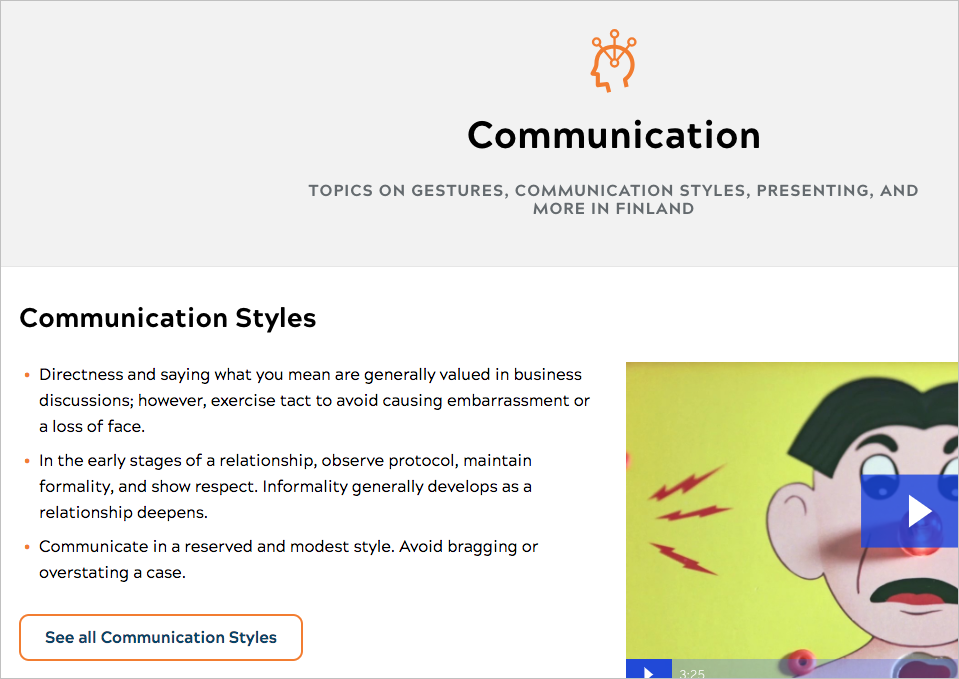 A topic page focused on communication styles in Finland.