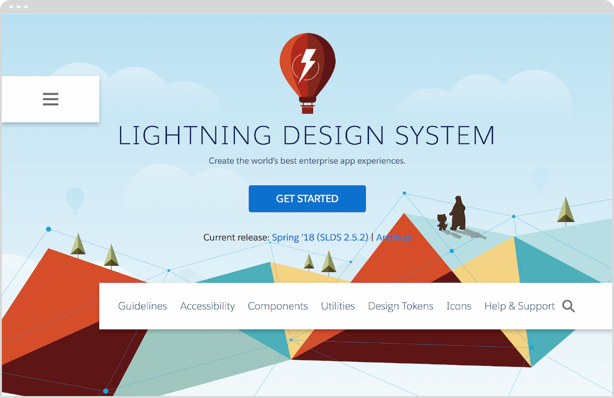 A screenshot of Salesforce's Lightning Design System, open to the landing page.