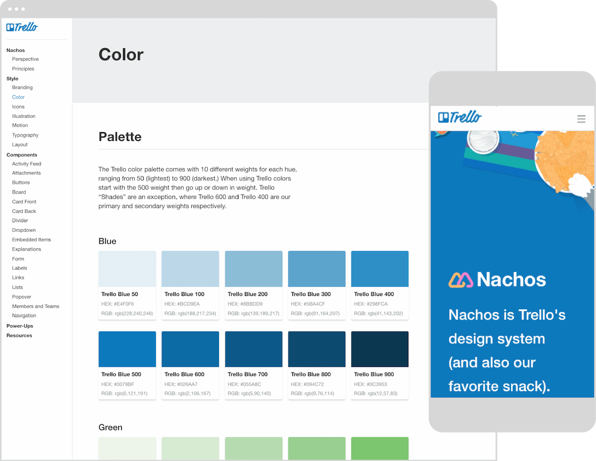 A screenshot of Trello's Nachos Design System open to the landing page.