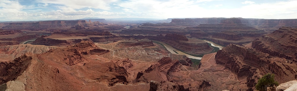 Panoramic photo looking southwest from Dead Horse Point, Dead Horse Point State Park, Utah