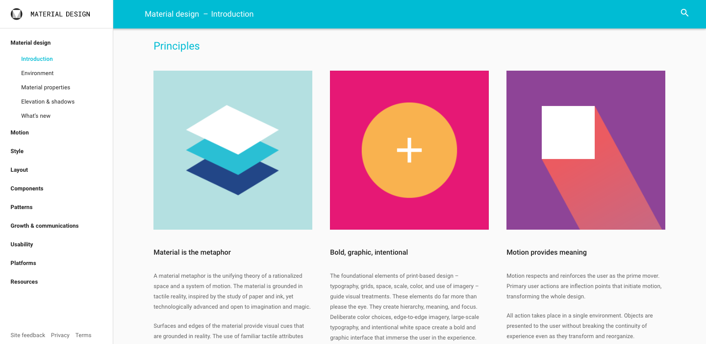 Screenshot of Google's Material Design website