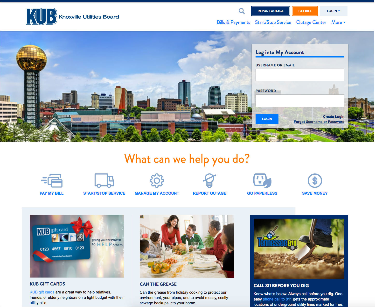 The redesigned KUB homepage allows users to quickly initiate needed tasks.