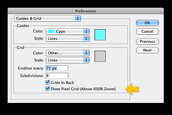 Use the preferences for guides and grids to view the pixel grid above 600%.