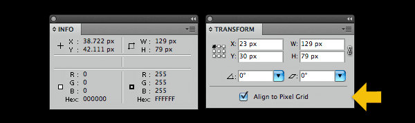 Align objects to the pixel grid using the transform palette.