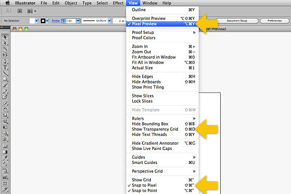 Use the view menu to change settings allowing Illustrator to display more like Photoshop.