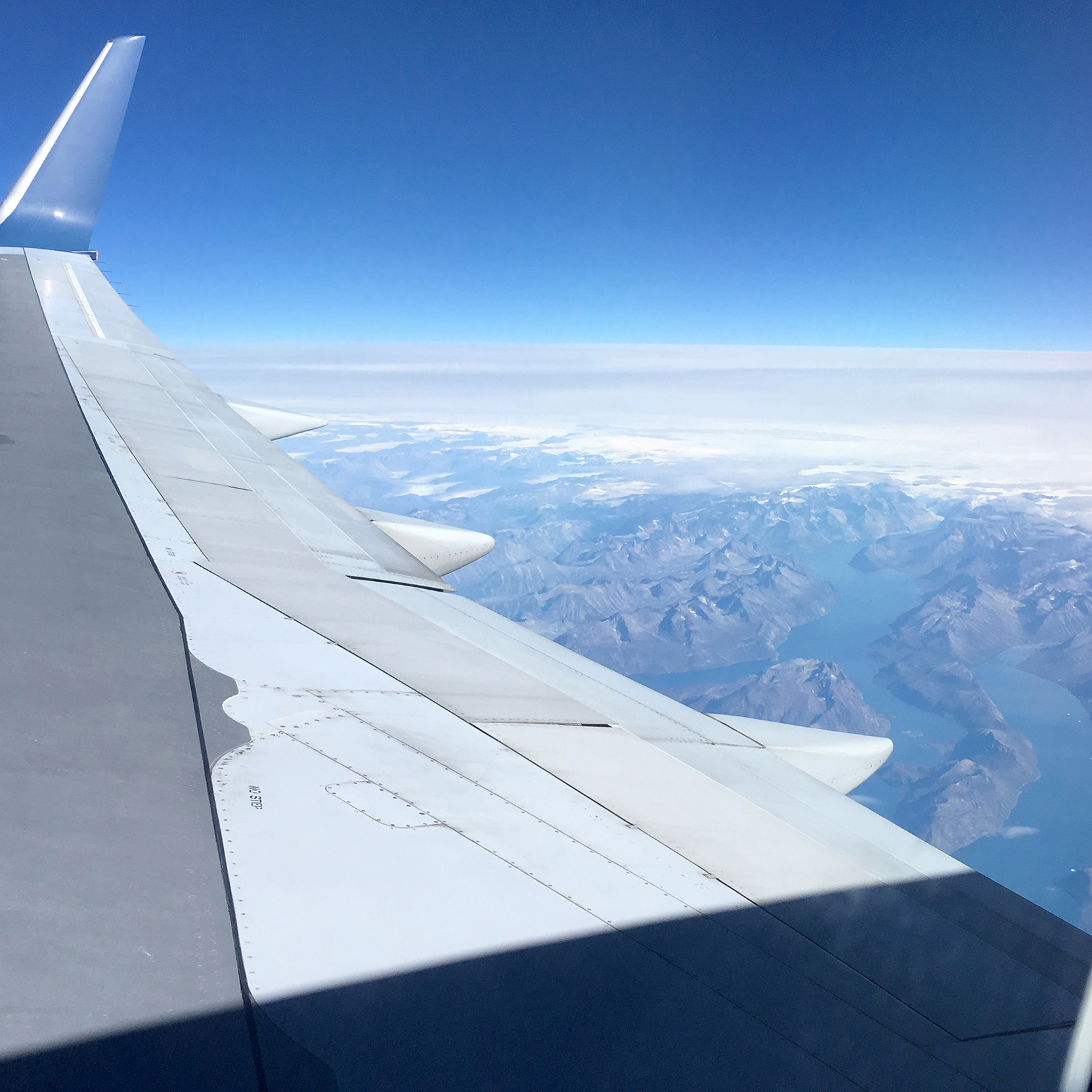 View of Greenland from the airplane.