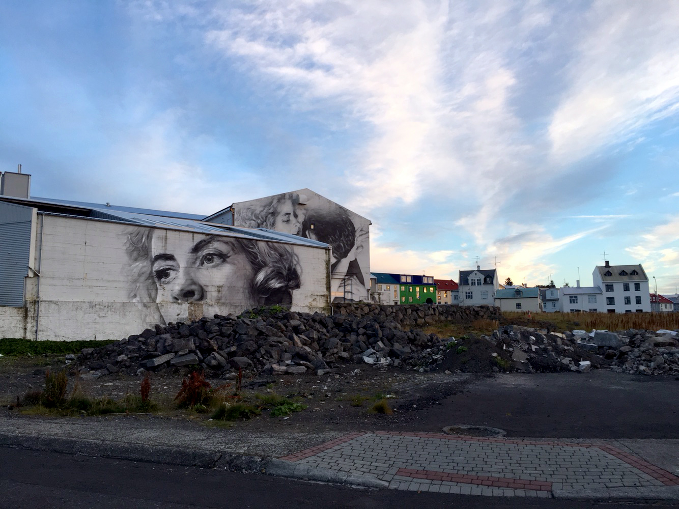 Murals on buildings near the harbor.