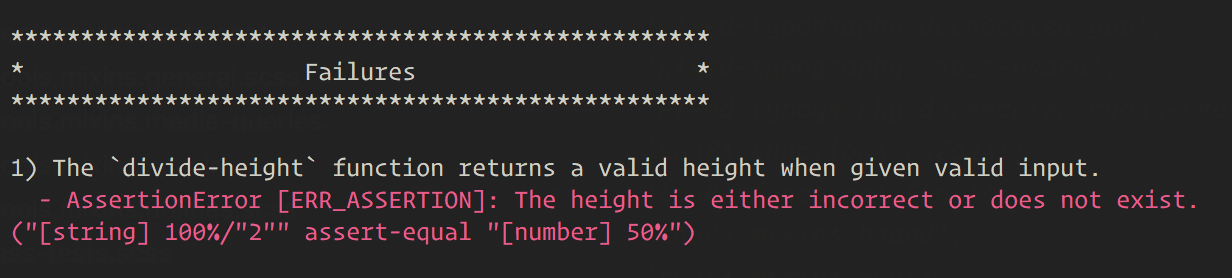 Console output that shows a failing test with an error message stating 'The height is either incorrect or does not exist.'