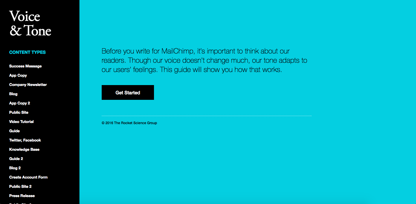 Screenshot of MailChimp's Voice and Tone Website
