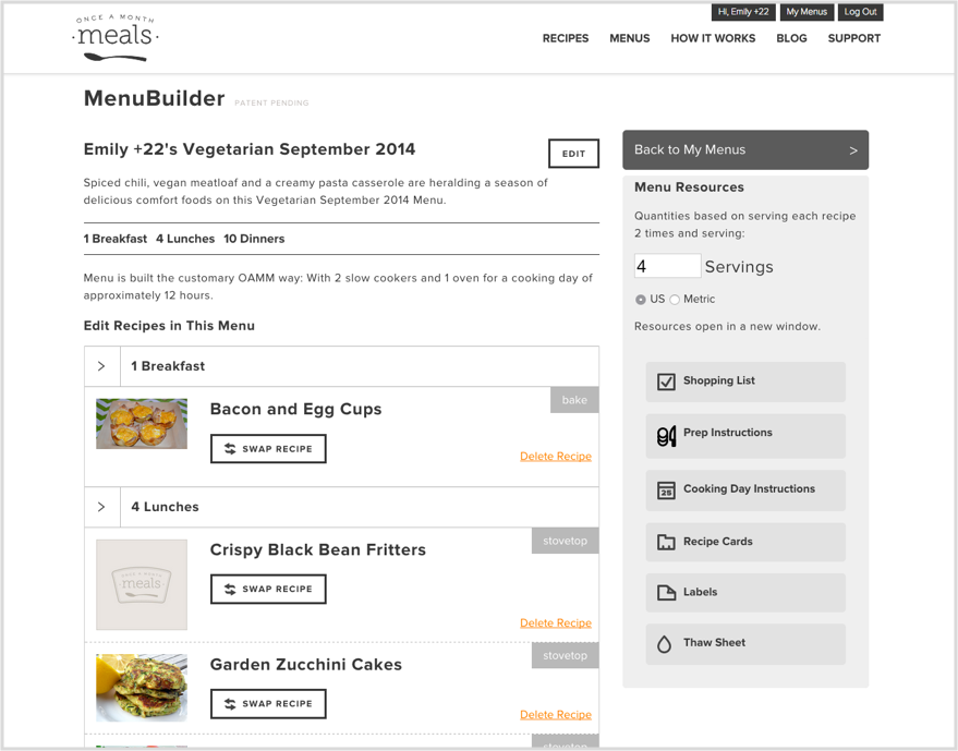 The application allows users to choose the number of servings needed and get menu resources based on that number.