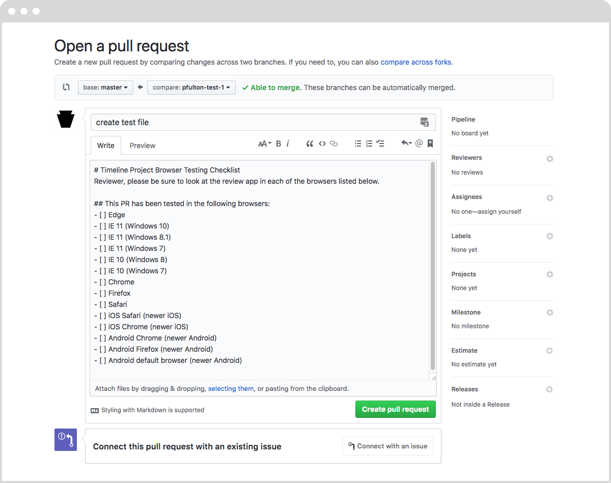 Better Pull Requests Merge Requests With Templates