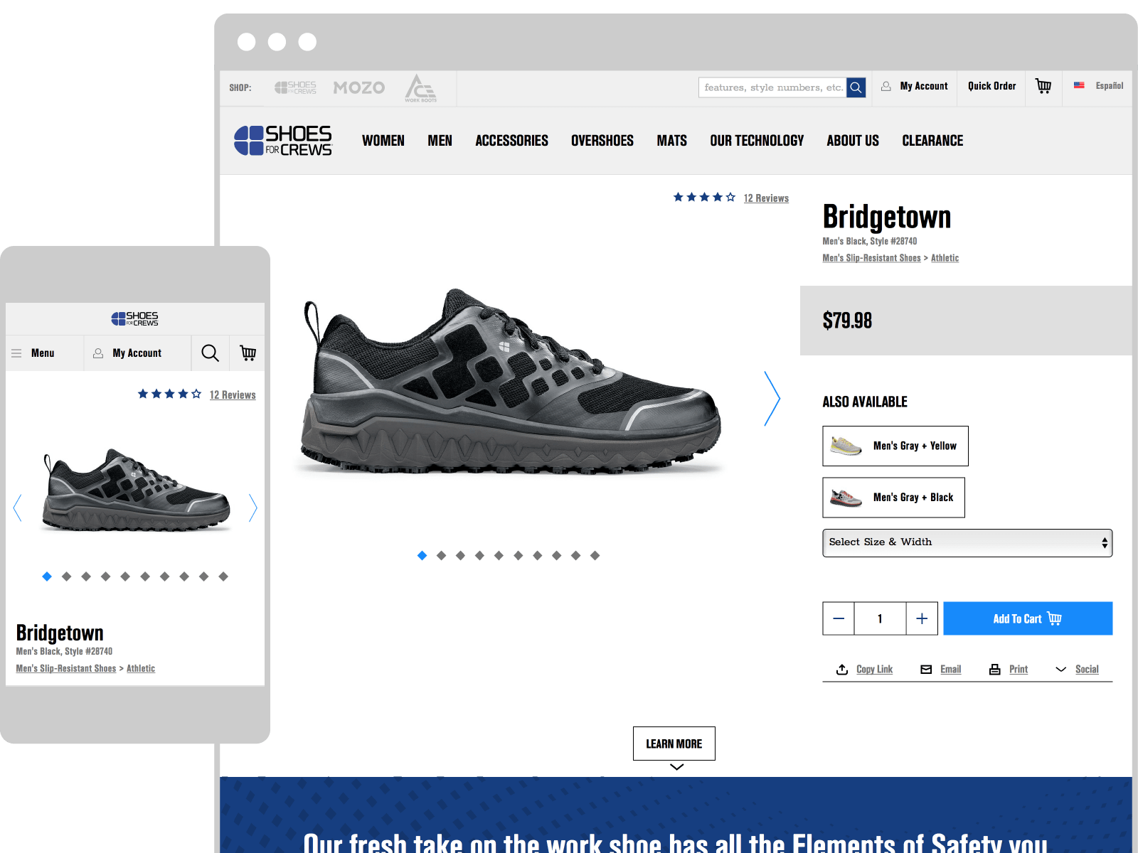 The new Shoes for Crews website.