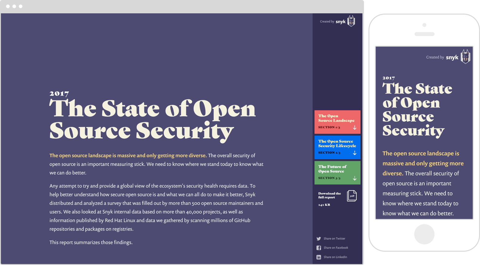 Snyk State of Open Source Security homepage, including social sharing icons in the navigation.