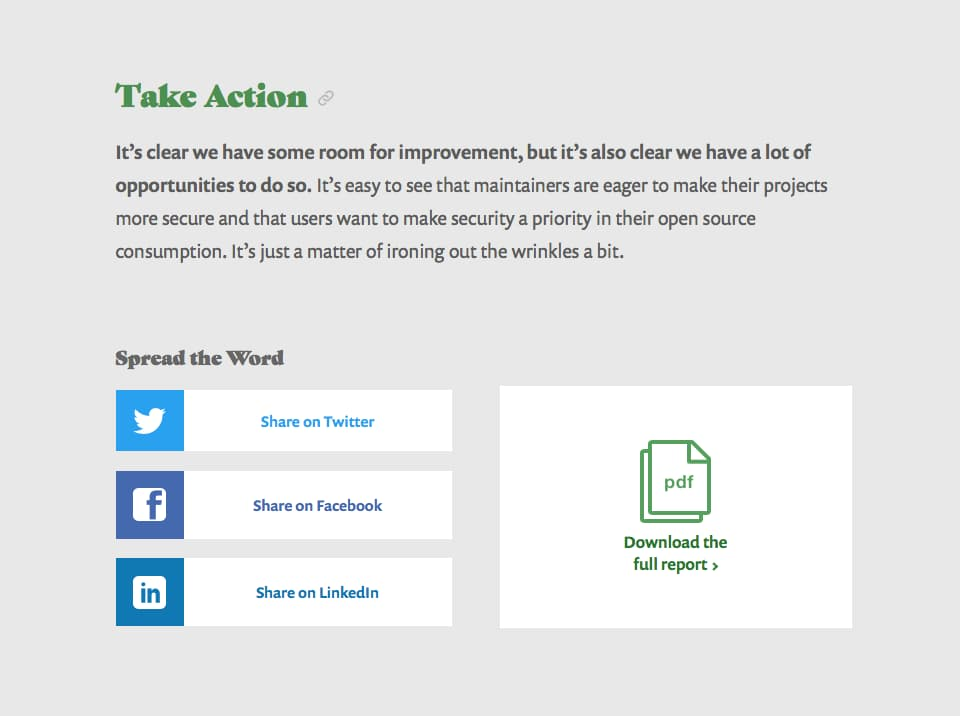 Take Action section of the website, which includes a call to action to spread the word via social media and download the full PDF report.