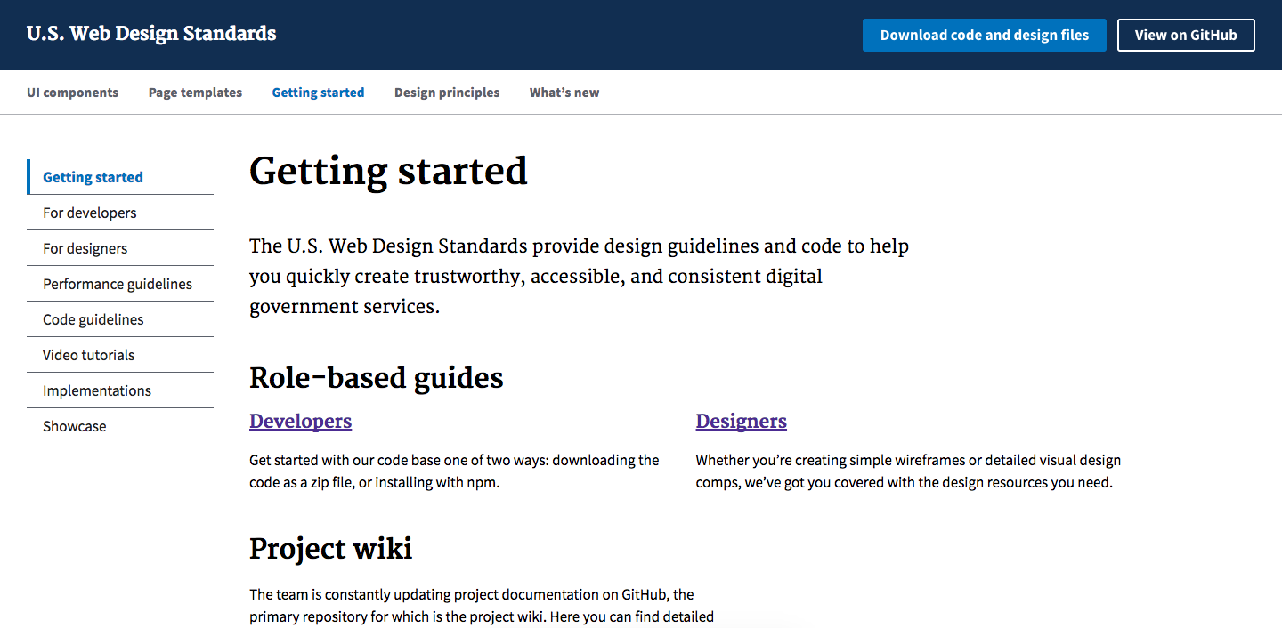Screenshot of the US Web Design Standards Website