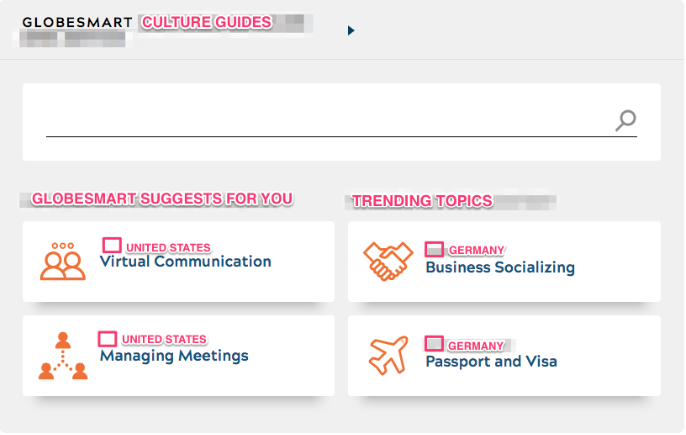 Axure prototype of the GlobeSmart culture guides, showing personalized suggestions and trending topics.