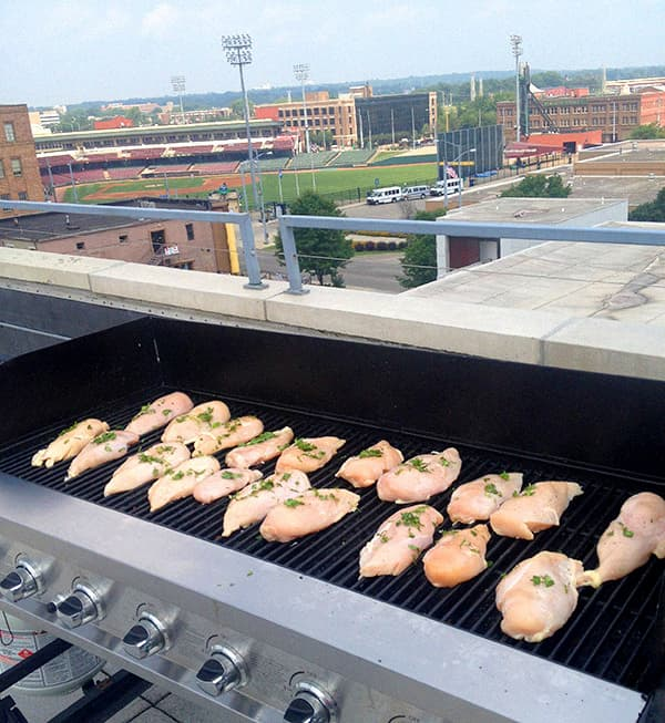 Grilling on the rooftop gril
